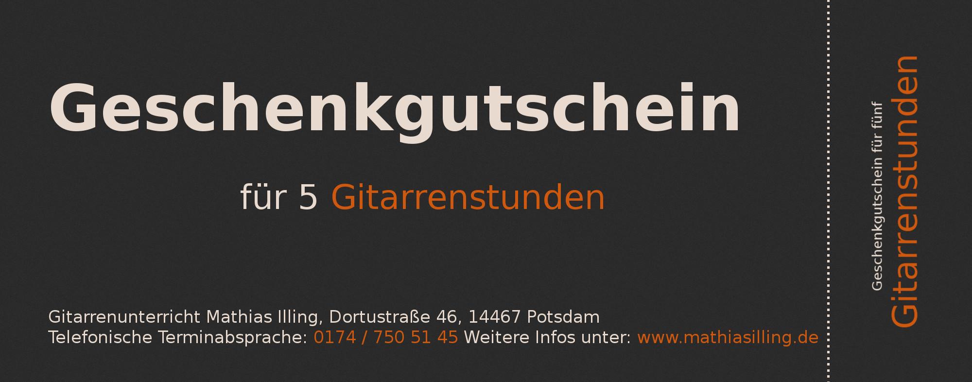 Geschenkgutschein für fünf Gitarrenstunden in Potsdam, Geschenkidee, Geschenk für Potsdam