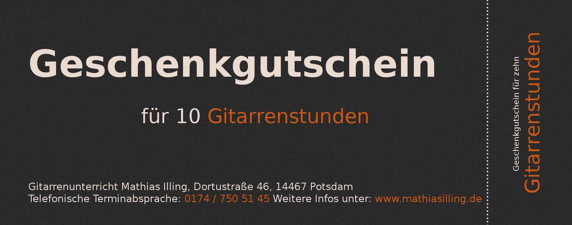 Geschenkgutschein für zehn Gitarrenstunden in Potsdam, Geschenkidee, Geschenk für Potsdam