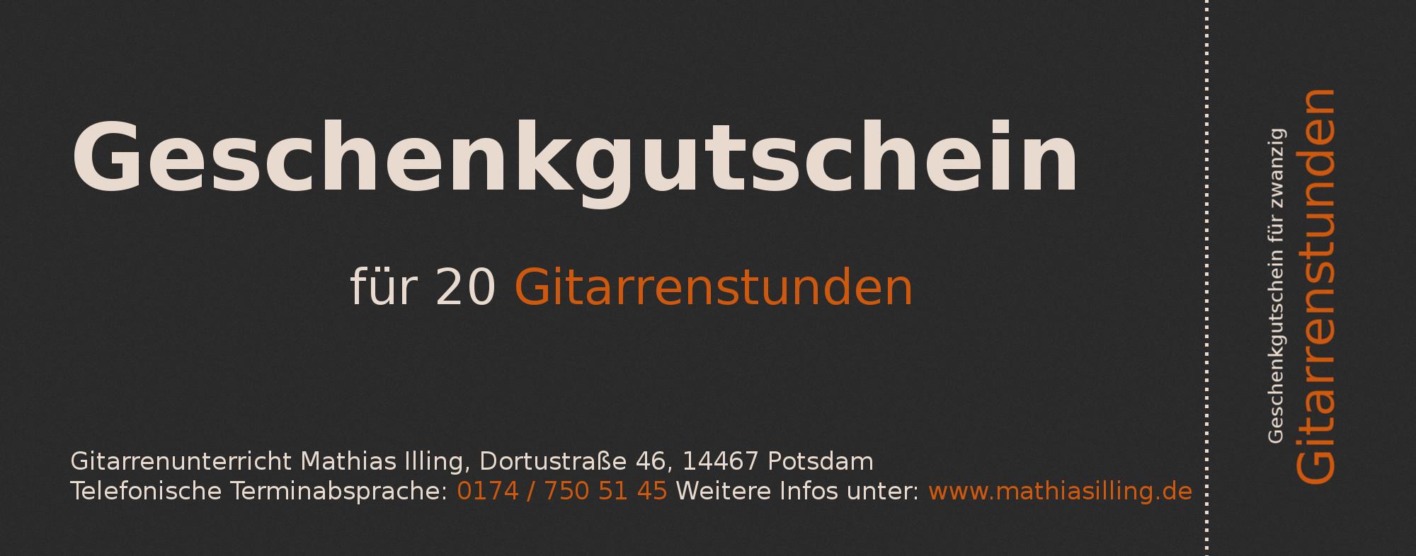 Geschenkgutschein für zwanzig Gitarrenstunden in Potsdam, Geschenkidee, Geschenk für Potsdam